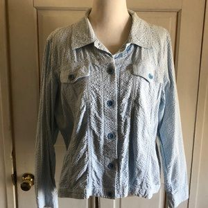 Women's XL Denim & Co Blue White Striped Jacket